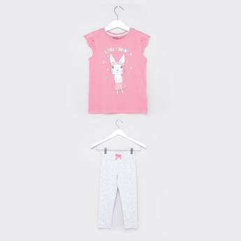 Bunny Print T-shirt and Full Length Pyjama with Bow Applique