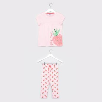 Strawberry Print T-shirt and Pyjamas Set