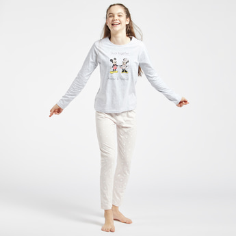 Mickey and Minnie Mouse Print Round Neck T-shirt and Full Length Pyjama Set