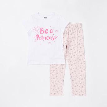 Princess Print Cap Sleeves T-shirt and Pyjama Set