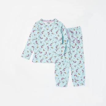 Unicorn Print Long Sleeves T-shirt and Full Length Pyjama Set