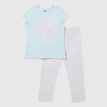Printed Cap Sleeves T-shirt and Full Length Pyjama Set