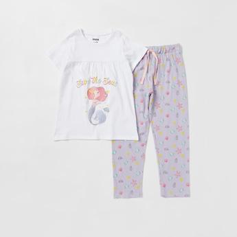 Printed Short Sleeves T-shirt and Full Length Pyjama Set