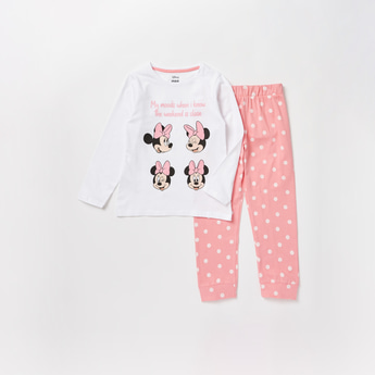 Minnie Mouse Print Round Neck T-shirt and Full Length Pyjama Set