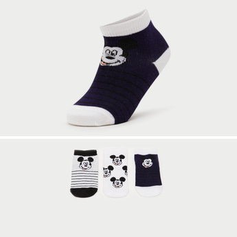 Pack of 3 - Mickey Mouse Print Ankle Length Socks