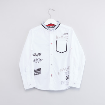 Printed Shirt with Long Sleeves and Roll-Tab Feature