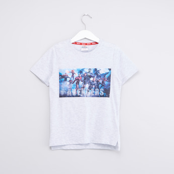 The Avengers Printed T-shirt with Round Neck and Short Sleeves