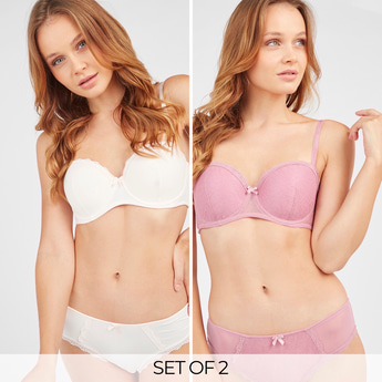 Set of 2 - Lace Padded Balconette Bra with Hook and Eye Closure
