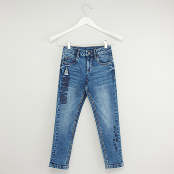 Embroidered Patch Jeans with Pockets and Button Closure