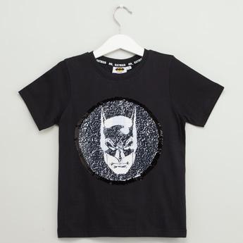 Batman Reversible Sequin Detail T-shirt with Round Neck