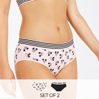 Set of 2 - Mickey Mouse Print Full Briefs with Elasticised Waistband