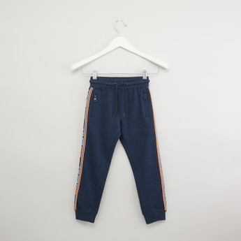 Textured Jog Pants with Tape Detail and Drawstring