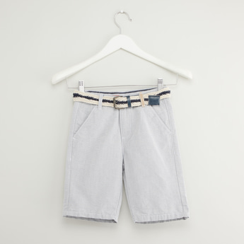 Striped Jacquard Shorts with Pockets and Belt