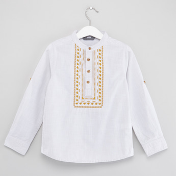 Embroidered Shirt with Mandarin Collar and Long Sleeves