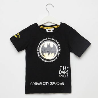 Batman Print T-shirt with Sequin Detail and Short Sleeves