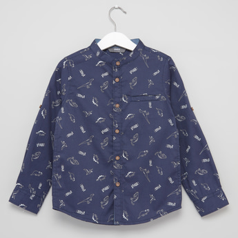 Printed Mandarin Collared Shirt with Long Sleeves