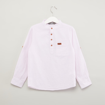 Plain Shirt with Mandarin Collar and Long Sleeves