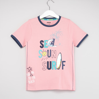 Surf Print T-shirt with Short Sleeves