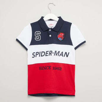 Spider-Man Print Polo T-shirt with Short Sleeves