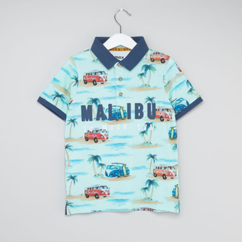 Printed and Embroidered Polo T-shirt with Long Sleeves