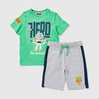 Toy Story 4 Graphic Print T-shirt with Shorts Set