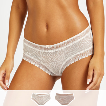 Set of 2 - Assorted Boy Shorts with Lace Detail