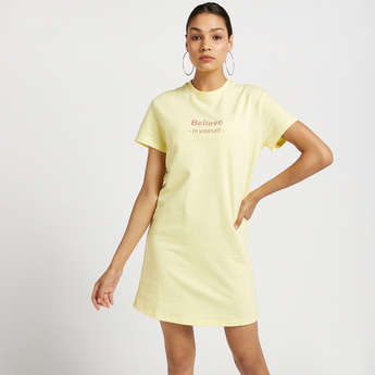 Typographic Print Round Neck T-shirt Dress with Short Sleeves