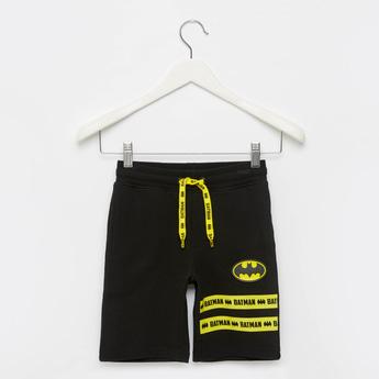 Batman Print Shorts with Elasticated Drawstring Waist