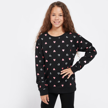 All-Over Heart Print Sweatshirt with Round Neck and Long Sleeves
