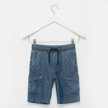 Cargo Denim Shorts with Drawstring Closure