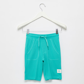 Solid Shorts with Pockets and Elasticated Drawstring Waist