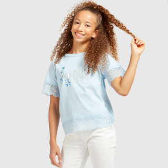 Textured Round Neck T-shirt with Short Sleeves and Lace Detail