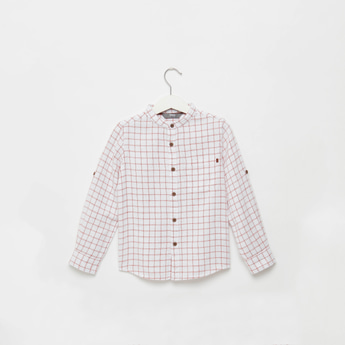 Checked Shirt with Mandarin Collar and Long Sleeves