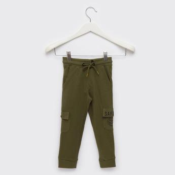 Text Print Knit Cargo Jog Pants with Pockets and Drawstring Closure