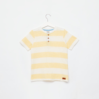 Striped Henley T-shirt with Short Sleeves