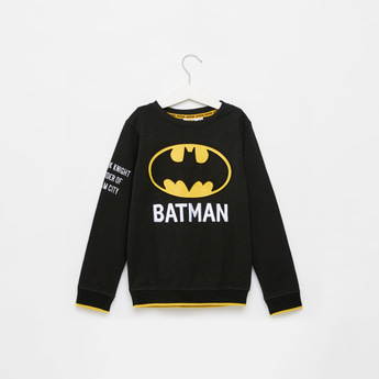 Batman Embossed Print Sweatshirt with Round Neck and Long Sleeves