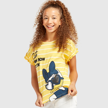 Daisy Duck Print Round Neck T-shirt with Short Sleeves