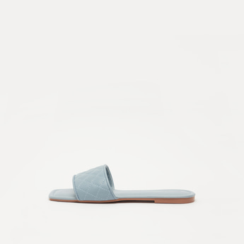 Quilted Open-Toe Slip-On Sandals