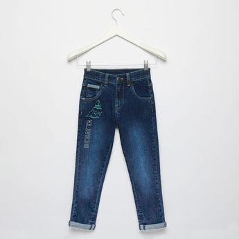 Embroidered Jeans with Pockets and Button Closure