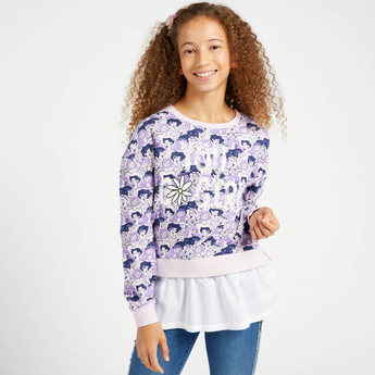 All-Over Print Sweat Top with Round Neck and Long Sleeves