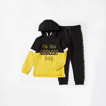 Typographic Print Cut N Sew Hoodie and Joggers Set