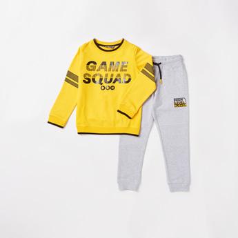 Games Squad Print Sweatshirt and Full Length Jog Pants Set