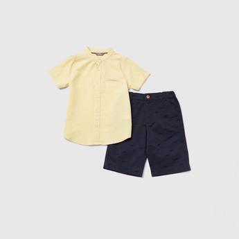 Solid Mandarin Collared Shirt and Printed Shorts Set