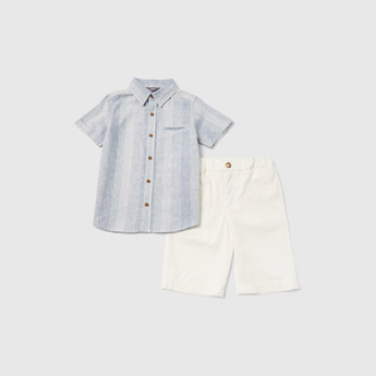 Striped Collared Shirt and Solid Woven Shorts