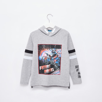 Graphic Print Hoodie with Long Sleeves