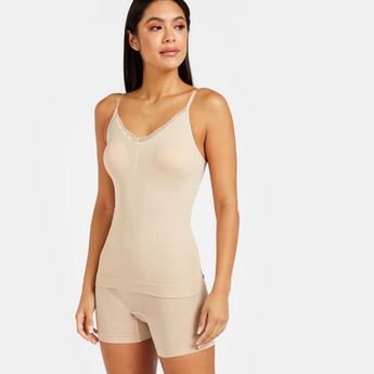 Solid Camisole with Lace Detail V-neck and Adjustable Straps