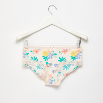 Floral Print Boyshort Briefs with Elasticated Waist