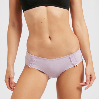 Lace Detail Boyleg Briefs with Elasticised Waistband