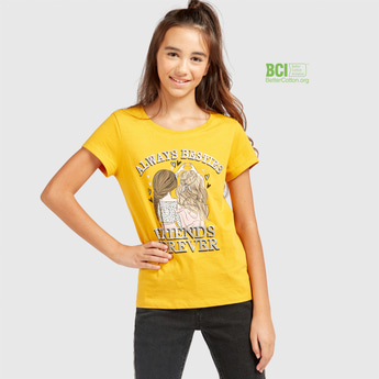 Friends Forever Print T-shirt with Round Neck and Short Sleeves