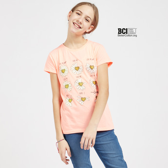 Daisies Print T-shirt with Round Neck and Short Sleeves
